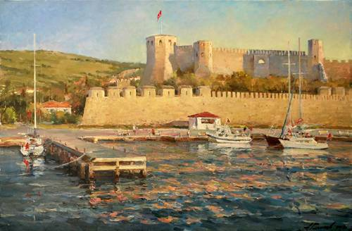 Painting Azat Galimov.Bozcaada. Sunset over the fortress.