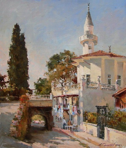 Painting Azat Galimov.Turkey. Buyukada. The Mosque on street Nizam.