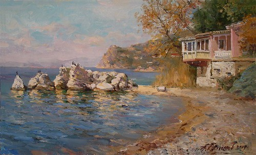 Painting Azat Galimov.On the shore of the Marmara Sea.