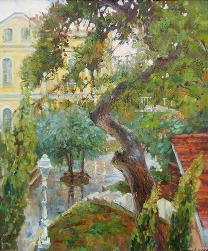 Painting Azat Galimov.Princes' Islands in the rainy day. Window View.